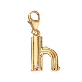 Diamond (Rnd) Initial H Charm in 14K Gold Overlay Sterling Silver