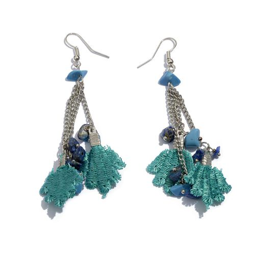 Turquoise Colour Cotton Lace Seed Beaded Brass Bracelet (Size 7.5 with 2 inch Extender) and Hook Earrings