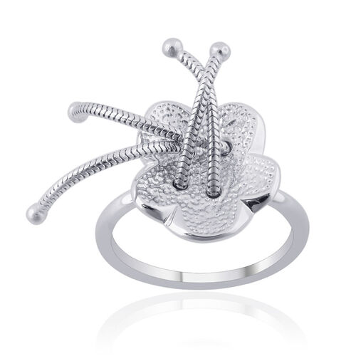 LucyQ Flower Ring in Rhodium Plated Sterling Silver 4.77 Gms.