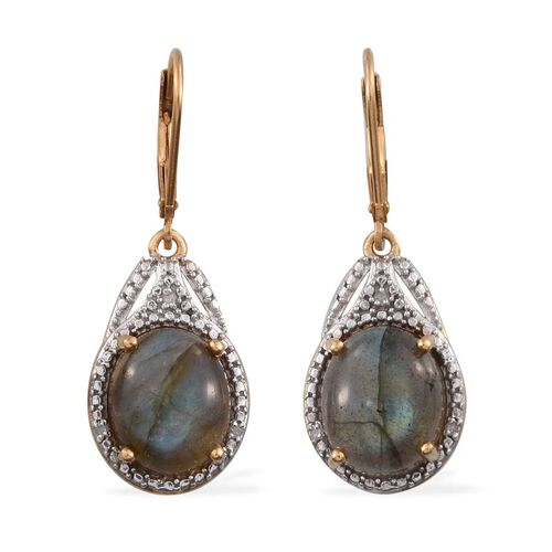 Labradorite (Ovl), Diamond Lever Back Earrings in 14K Gold Overlay Sterling Silver 7.800 Ct.