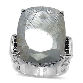 Natural Silver Sapphire (Cush 34.50 Ct), Boi Ploi Black Spinel Ring in Rhodium Plated Sterling Silver 35.000 Ct.