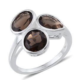 Brazilian Smoky Quartz (Ovl 1.75 Ct) Ring in Sterling Silver 4.250 Ct.