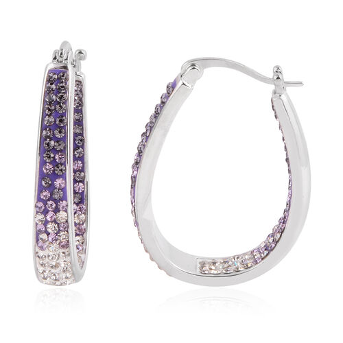 Close Out Deal Purple and White Austrian Crystal Hoop Earrings (with Clasp) in Silver Bond