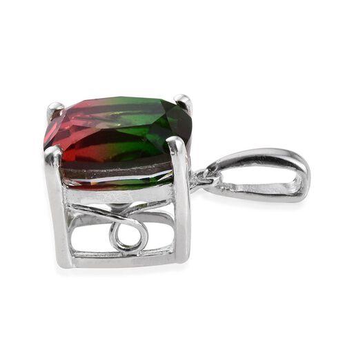 Bi-Color Tourmaline Quartz (Cush) Solitaire Pendant in Platinum Overlay Sterling Silver 3.500 Ct.