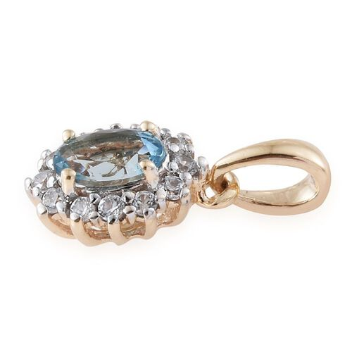 9K Yellow Gold 0.65 Carat AA Santa Maria Aquamarine Halo Pendant with Natural Cambodian Zircon