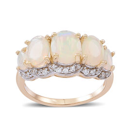 9K Y Gold Ethiopian Welo Opal (Ovl 2.02 Ct), Natural Cambodian White Zircon Ring 2.250 Ct.