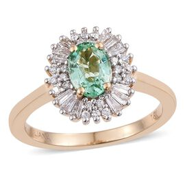 ILIANA 18K Yellow Gold 1 Carat AAA Boyaca Colombian Emerald Oval Halo Ring, Diamond SI G-H.