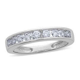 ILIANA 18K W Gold IGI Certified Diamond (Rnd) (SI/G-H) Half Eternity Band Ring 0.500 Ct.