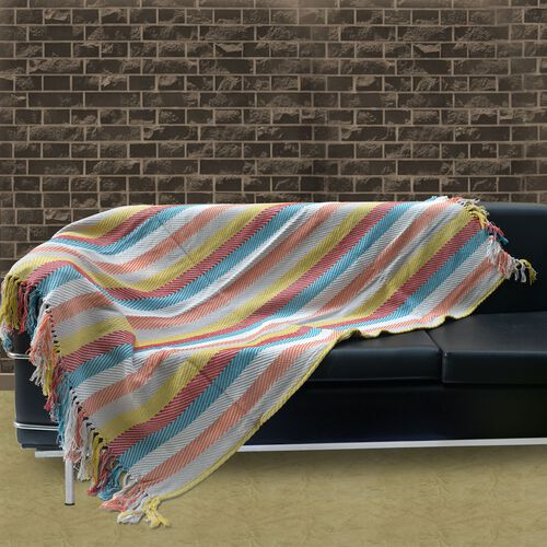 100% Cotton Green, Red and Multi Colour Stripe Pattern Throw with Fringes at the Bottom (Size 160x120 Cm)