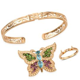 GP Paraibe Apatite (Pear 1.00 Ct), Russian Diopside, Rhodolite Garnet and Multi Gemstone Interchangeable Cuff Bangle, Ring and Butterfly Pendant in 14K Gold Overlay Sterling Silver 6.500 Ct.