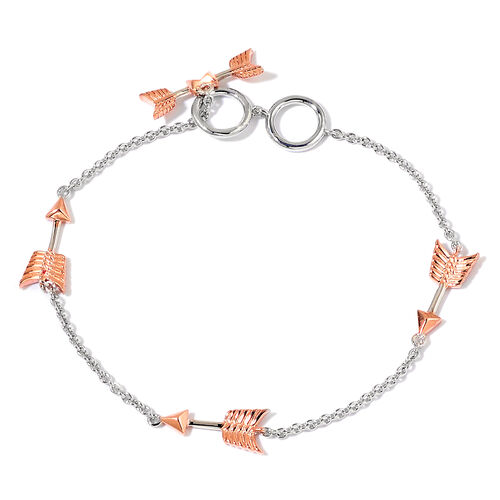 LucyQ Rose Gold and Rhodium Plated Sterling Silver Arrow Bracelet (Size 7.5)