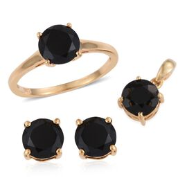 Boi Ploi Black Spinel (Rnd) Solitaire Ring, Pendant and Stud Earrings (with Push Back) in 14K Gold Overlay Sterling Silver 6.000 Ct.