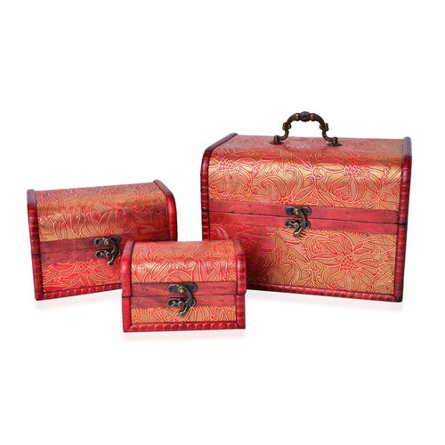 Set of 3 - Handcrafted Floral Embossed Golden Colour Vintage Style Jewellery Box (Small 12X7.5X7.5 Cm), (Medium 16X11X10.5 Cm) and (Large 22X16X15.5 Cm)