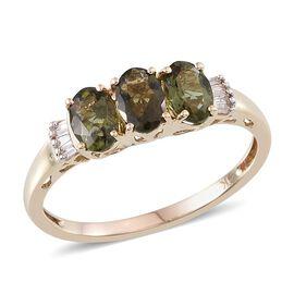 9K Y Gold Bohemian Moldavite (Ovl), Diamond Ring 1.150 Ct.