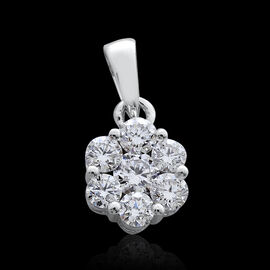 ILIANA 18K W Gold IGI Certified Diamond (Rnd) (S I/G-H) 7 Stone Floral Pendant 0.500 Ct.