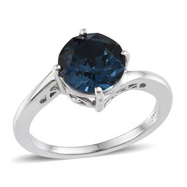 Crystal from Swarovski - Montana Crystal (Rnd) Solitaire Ring in Platinum Overlay Sterling Silver 2.000 Ct.