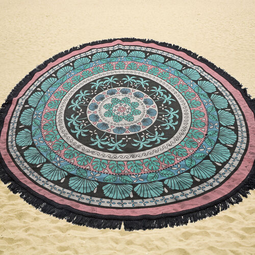 100% Cotton Black, Pink and Multi Colour Printed Palm Trees Round Beach Rug with Fringes (Size 140 Cm Diameter)