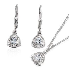 Espirito Santo Aquamarine (Trl), Diamond Pendant With Chain and Lever Back Earrings in Platinum Overlay Sterling Silver 0.780 Ct.