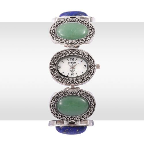 STRADA Japanese Movement White Dial Water Resistant Watch in Silver Tone With Stainless Back and Lapis Lazuli, Green Aventurine, Blue Howlite Strap 90.000 Ct.