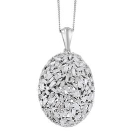 Designer Inspired- Fireworks Diamond (Bgt) Cluster Pendant with Chain in Platinum Overlay Sterling Silver 1.500 Ct.