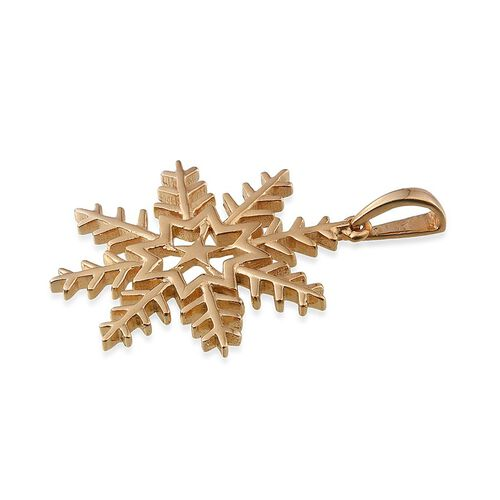 14K Gold Overlay Sterling Silver Snowflake Pendant, Silver wr 5.00 Gms.