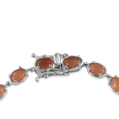 Mitiyagoda Peach Moonstone (Ovl) Bracelet in Platinum Overlay Sterling Silver (Size 7.5) 10.000 Ct.