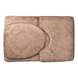 Set of 3 - Chocolate Colour Leaves and Filigree Pattern Bath Mat (Size 80x50 Cm), Toilet Cover (Size 45x40 Cm) and Counter Mat (Size 50x40 Cm)