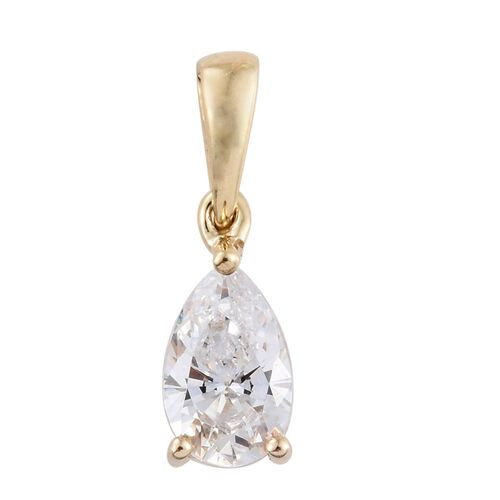 9K Yellow Gold Pear Solitaire Pendant Made with SWAROVSKI ZIRCONIA