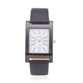 STRADA Japanese Movement White Dial Water Resistant Watch in Black Tone with Stainless Steel Back and Black Strap