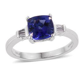 RHAPSODY 950 Platinum AAAA Tanzanite (Cush 1.60 Ct), Diamond Ring 1.750 Ct.