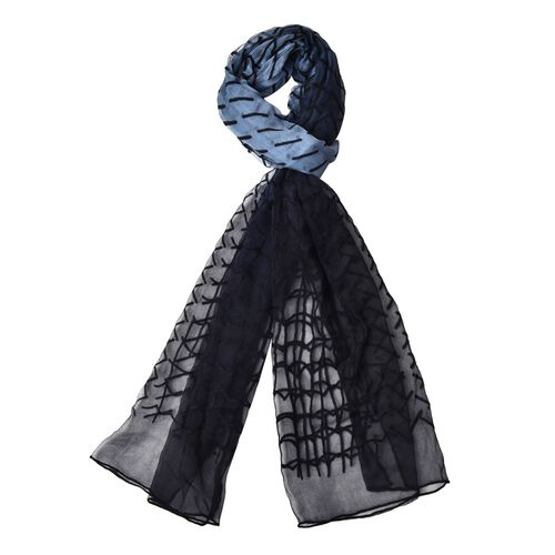 100% Silk Black Colour Velvet Twill and Potion Pattern Black and Grey Colour Scarf (Size 170X50 Cm)