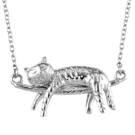 Platinum Overlay Sterling Silver Cat Necklace with Chain (Size 18), Silver wt 5.05 Gms.