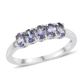 Green Blue Tanzanite (Ovl) 5 Stone Ring in Platinum Bond 1.250 Ct.