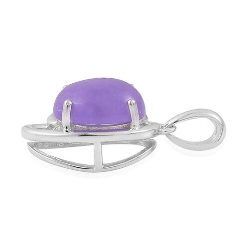 Purple Jade (Ovl) Solitaire Pendant in Platinum Overlay Sterling Silver 3.000 Ct.