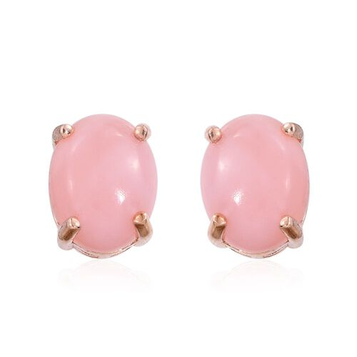 Natural Peruvian Pink Opal (Ovl) Stud Earrings (with Push Back) in Rose Gold Overlay Sterling Silver 2.750 Ct.