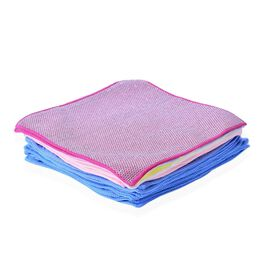 Set of 25 - Cleaning Towels 21 Microfiber 11 Blue and 10 Pink, 2 Red Colour Microfiber with Silver Scratch On The Back and 2 Lint Free Glass Towel (1 Blue and 1 Yellow)