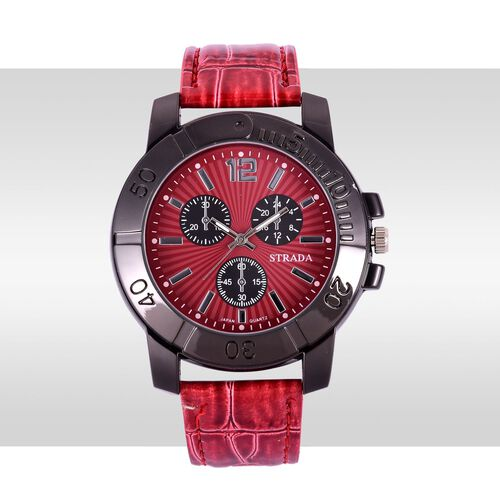 STRADA Japanese Movement Red Dial Water Resistant Watch in Black Tone with Stainless Steel Back and Red Strap