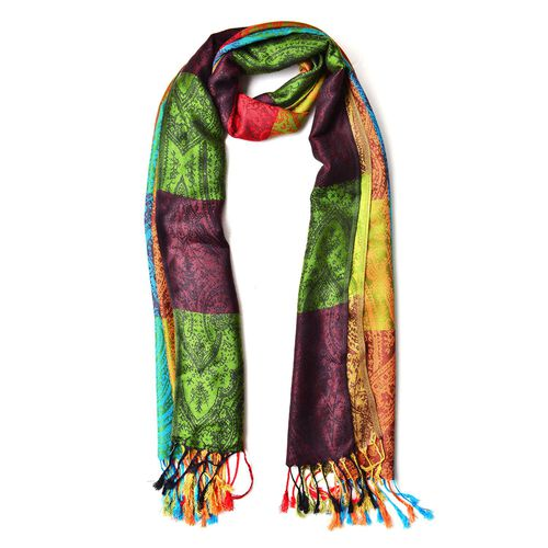 Orange, Green and Multi Colour Checks and Paisley Pattern Scarf with Tassels (Size 180X65 Cm)