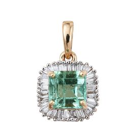 ILIANA 18K Y Gold Boyaca Colombian Emerald (Oct 1.05 Ct), Diamond Pendant 1.250 Ct.