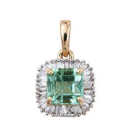 ILIANA 18K Y Gold Boyaca Colombian Emerald (Oct 1.05 Ct), Diamond Pendant 1.250 Ct.