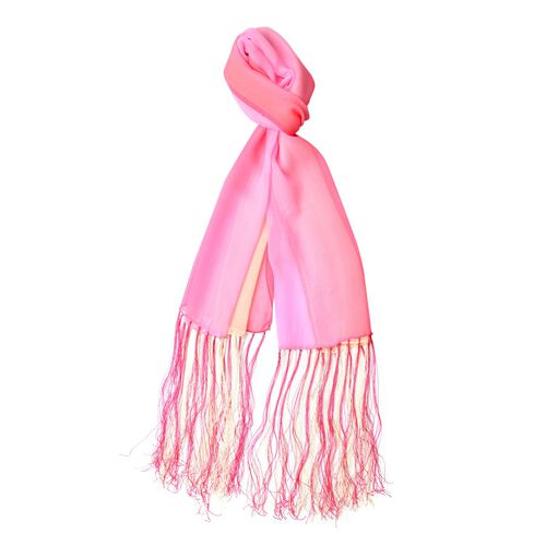 100% Mulberry Silk Rose Red, Pink and Yellow Colour Scarf with Long Tassels (Size 160X50 Cm)