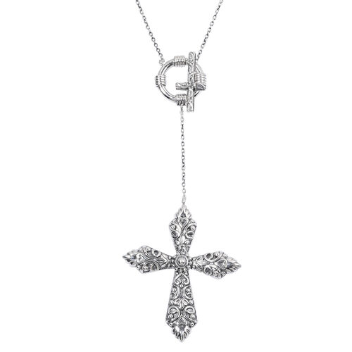 Sterling Silver Cross Necklace (Size 18 with 2 inch Extender), Silver wt 5.80 Gms.