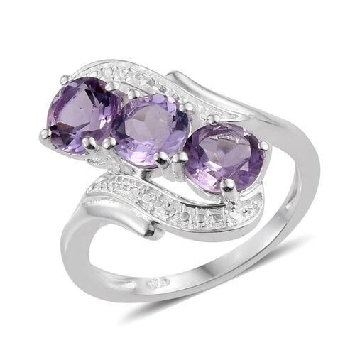 Rose De France Amethyst (Rnd) Trilogy Ring in Sterling Silver 2.000 Ct.