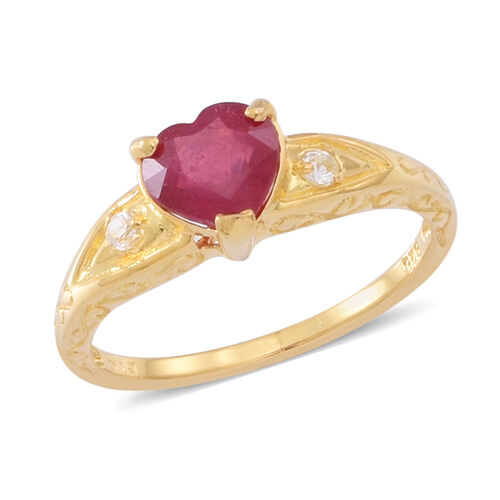 African Ruby (Hrt), White Topaz Ring, Pendant and Stud Earrings (with Push Back) in 14K Gold Overlay Sterling Silver 5.000 Ct.