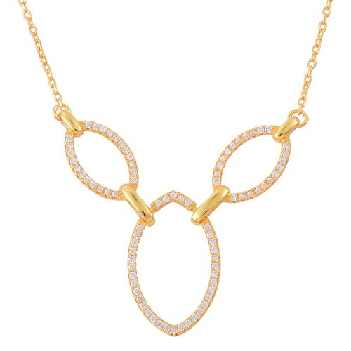AAA Simulated White Diamond Necklace (Size 18) in Yellow Gold Overlay Sterling Silver