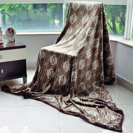 Superfine Microfibre Printed Flannel Blanket Brown with Knitted Border (Size 230x185 Cm)
