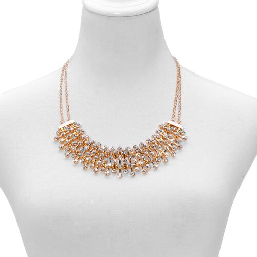 AAA White Austrian Crystal Necklace (Size 20 with 2 inch Extender) in Gold Tone