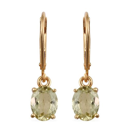 Natural Canary Apatite (Ovl) Lever Back Earrings in 14K Gold Overlay Sterling Silver 2.000 Ct.