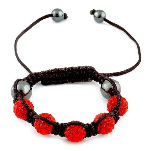 Red Austrian Crystal and Hematite Bracelet (Adjustable)