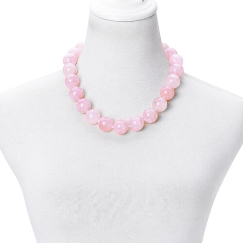Chunky Brazilian AAA Rose Quartz Beads Necklace (Size 20) with Magnetic Clasp in Rhodium Plated Sterling Silver 1285.500 Ct.